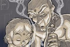 Jarkum aprendió a rezar a la diosa IANNA. El chamán rogaba que nunca tuviera que cumplirse su destino.